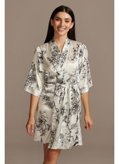 Drawn Blooming Floral Satin Robe - This robe is the perfect piece for getting