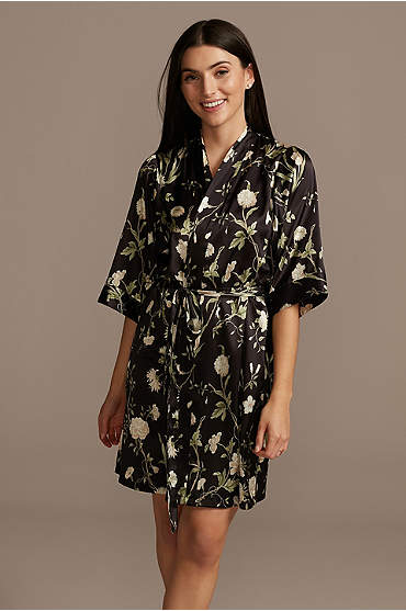 Blooming Floral and Climbing Greens Satin Robe