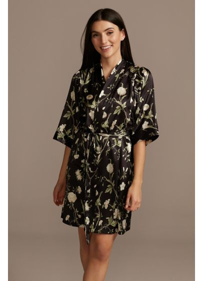Blooming Floral and Climbing Greens Satin Robe - A beautiful gift for the women in your