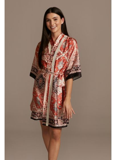 Scarf Print Satin Robe with Crochet Trim - Wedding Gifts & Decorations
