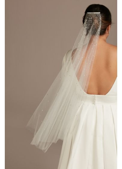 Cascading Crystal Fingertip Veil - Wedding Accessories