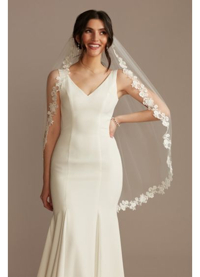 Cutout Floral Lace Mid-Length Veil - Wedding Accessories