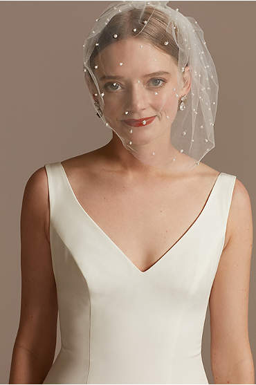 Pearl-Dotted Tulle Blusher Veil