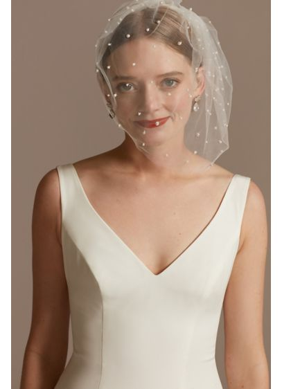 Pearl-Dotted Tulle Blusher Veil - Wedding Accessories