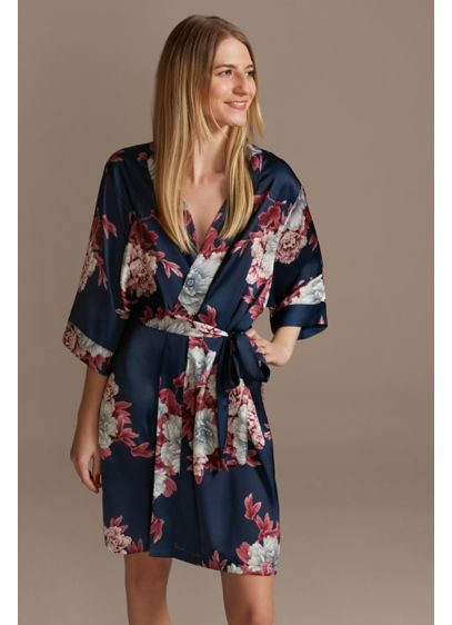 Marine and Wine Floral Satin Robe - A gorgeous gift for your party, this soft