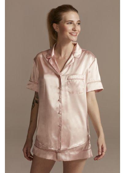 Solid Satin Short Pajama Set - Wedding Gifts & Decorations