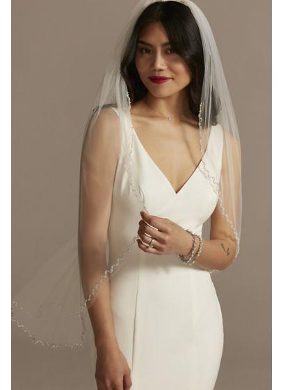 Rhinestone Wave Edge Fingertip Veil with Pearls - Wedding Accessories