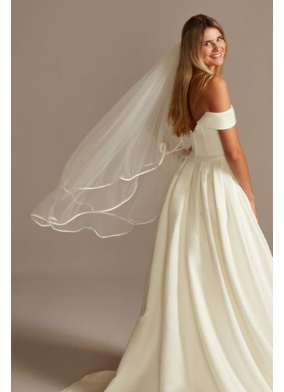 Pearl and Rhinestone Edge Mid-Length Circle Veil - A simple and lovely mid-length tulle veil trimmed