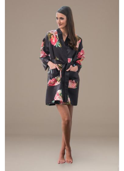 Floral Satin Robe with Pockets - Wedding Gifts & Decorations