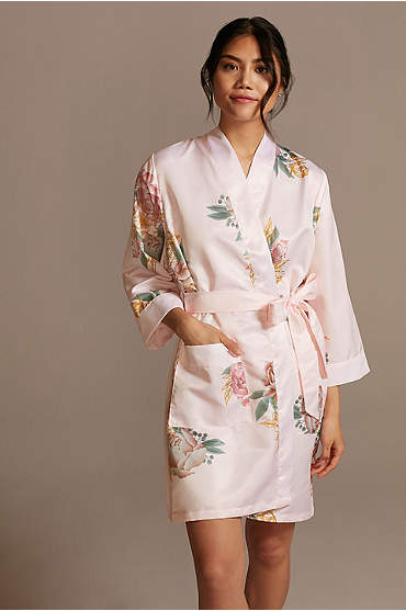 Floral Satin Robe with Pockets