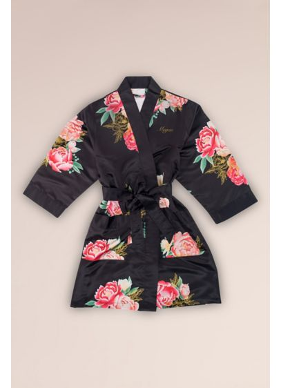 Floral Satin Junior Bridesmaid Robe with Pockets - Detailed with a blooming, floral print, this satin