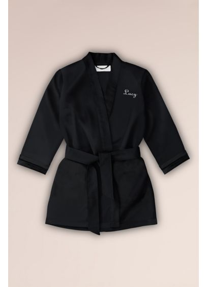 Embroidered Flower Girl Satin Robe with Pockets - Include your flower girl in the festivities with