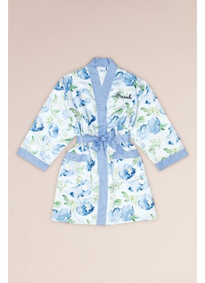 Personalized Watercolor Floral Satin Robe - A lovely custom robe for brides and besties,