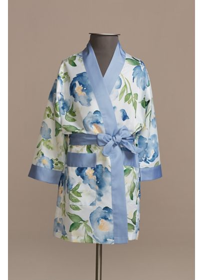 Personalized Watercolor Floral Girls Satin Robe - Wedding Gifts & Decorations