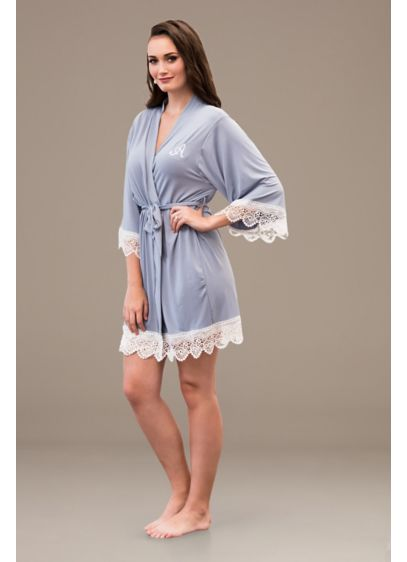 Embroidered Jersey Robe with Lace Trim - Spend time pre-ceremony in this cute and comfortable