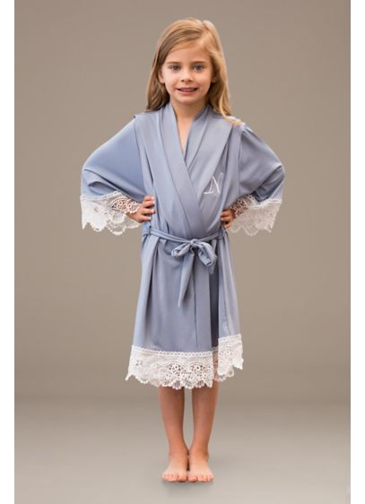 Flower Girl Embroidered Jersey Robe with Lace Trim - This silky soft robe was made for your