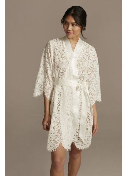 Bridal Embroidered Monogram Lace Robe - Wedding Gifts & Decorations
