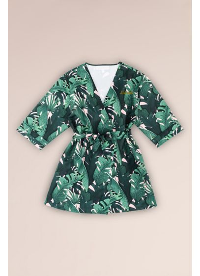 Tropical Embroidered Junior Bridesmaid Satin Robe - Wedding Gifts & Decorations