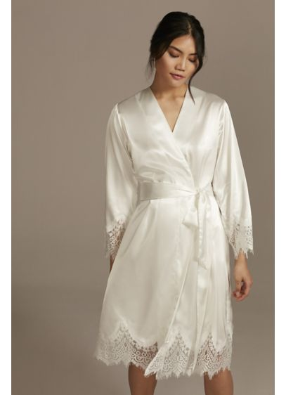 Satin Embroidered Robe with Lace Trim - Wedding Gifts & Decorations