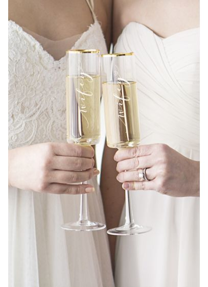 Wifey and Wifey Gold Rim Champagne Flutes - Wedding Gifts & Decorations