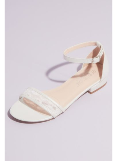 Blossom White (Metallic Ankle Strap Sandals with Illusion Lace)