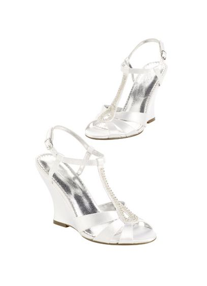 White (Dyeable High Heel Wedge Sandal with Beaded T-Strap)