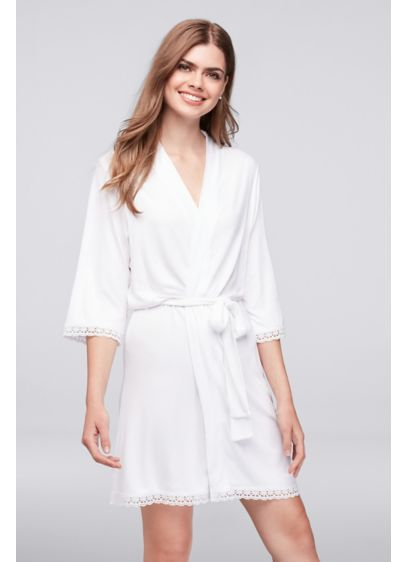 White Knit Robe with Lace Edge - Wedding Gifts & Decorations
