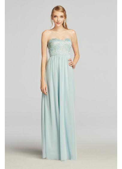 Strapless Chiffon Prom Dress with Lace Bodice | David\'s Bridal