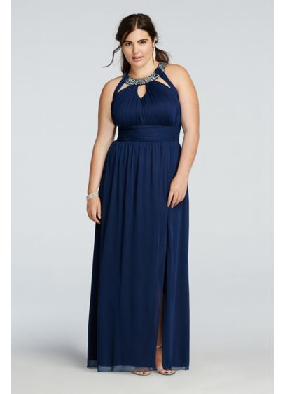 Beaded Halter Plus Size Prom Dress with Cut Outs | David\'s ...
