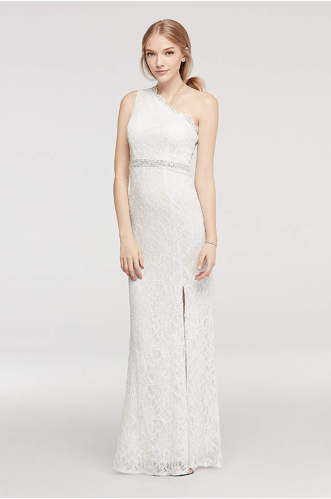 One Shoulder Lace Prom Dress with Beaded Waist