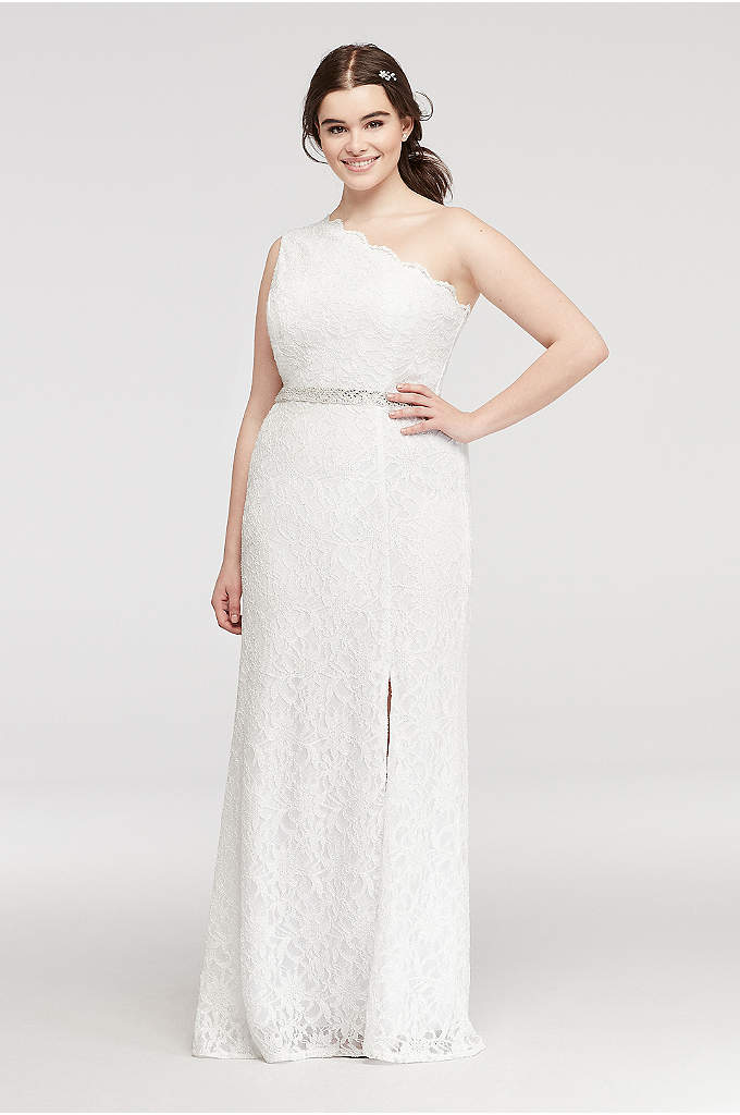 One Shoulder Lace Prom Dress with Beading