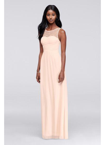 Sleeveless Prom Dress with Illusion Neckline | David\'s Bridal