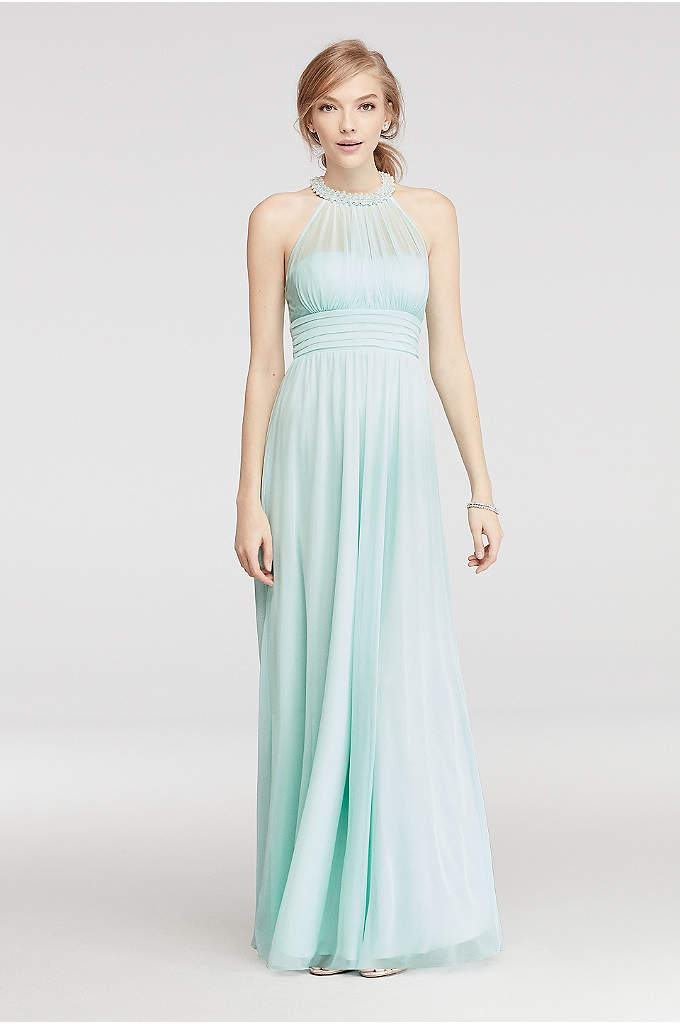 Beaded Illusion Halter Ruched Prom Dress