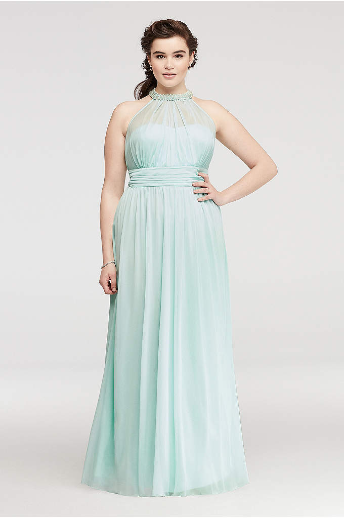 Beaded Illusion Halter Prom Dress with Ruching