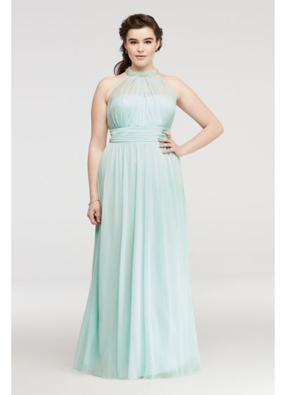 Beaded Illusion Halter Prom Dress with Ruching | David\'s Bridal