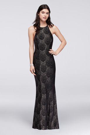 fe93d09b403b Glitter Knit Halter Dress with Low Back | David's Bridal