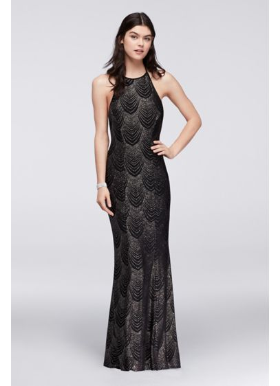 Glitter Knit Halter Dress with Low Back | David\'s Bridal