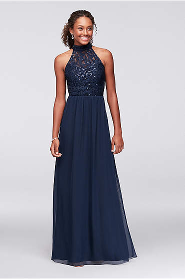 Chiffon High-Neck Gown with Ladder Back Detail