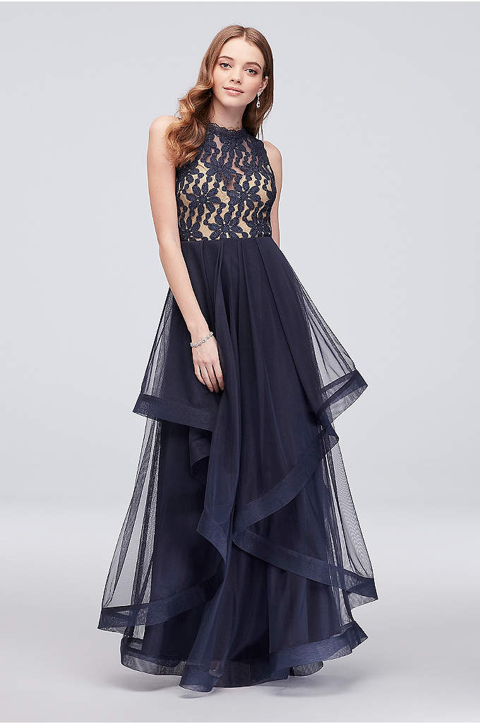 Cascading Glitter Lace Dress with Horsehair Trim - Layers of horsehair-trimmed tulle create a fun, flouncy