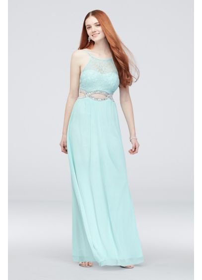 Long A-Line Halter Cocktail and Party Dress - Speechless