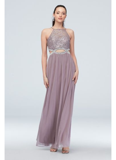 High-Neck Lace and Jersey Gown with Cutout Waist - A high-neck, glitter lace bodice with an illusion