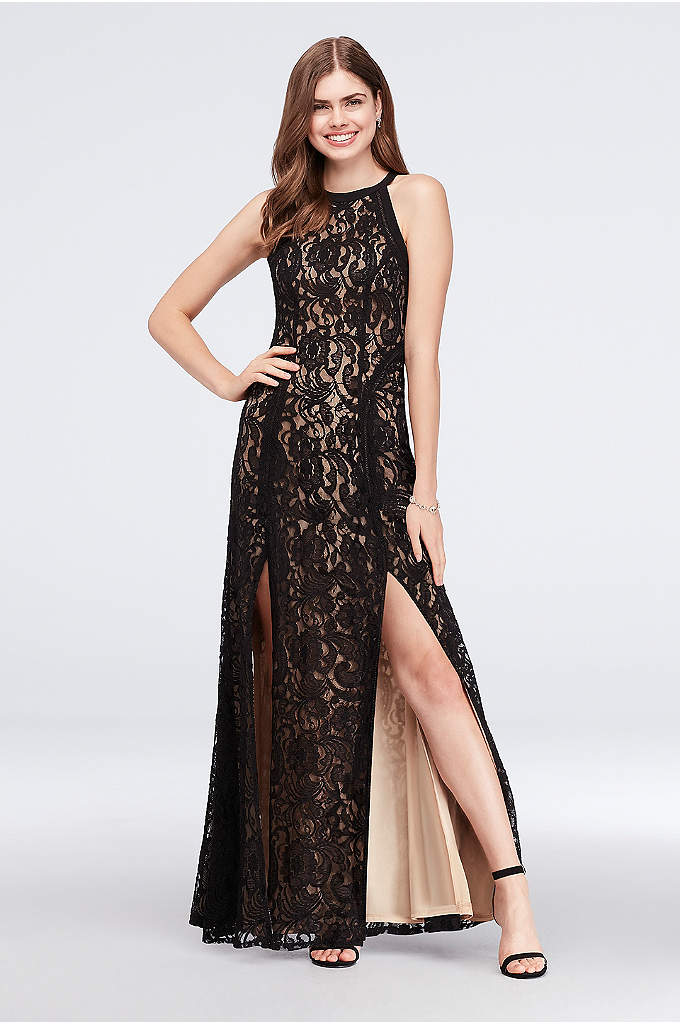 Contrast Lace Soft Sheath Halter Gown - Dark crochet lace really pops on a pale