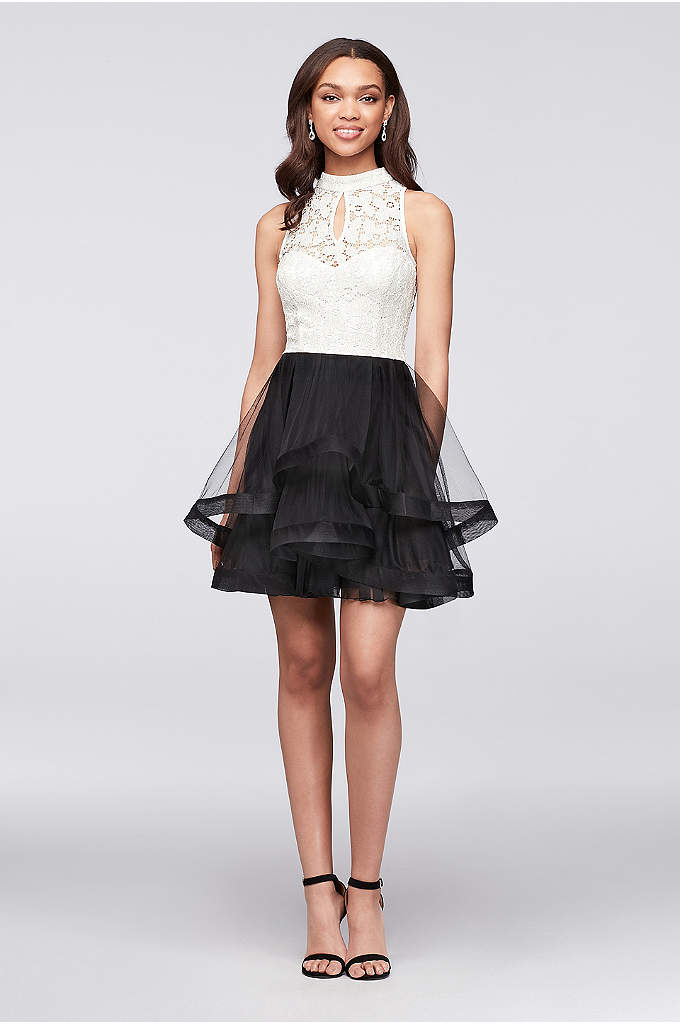 High-Neck Lace and Tiered Mesh Party Dress