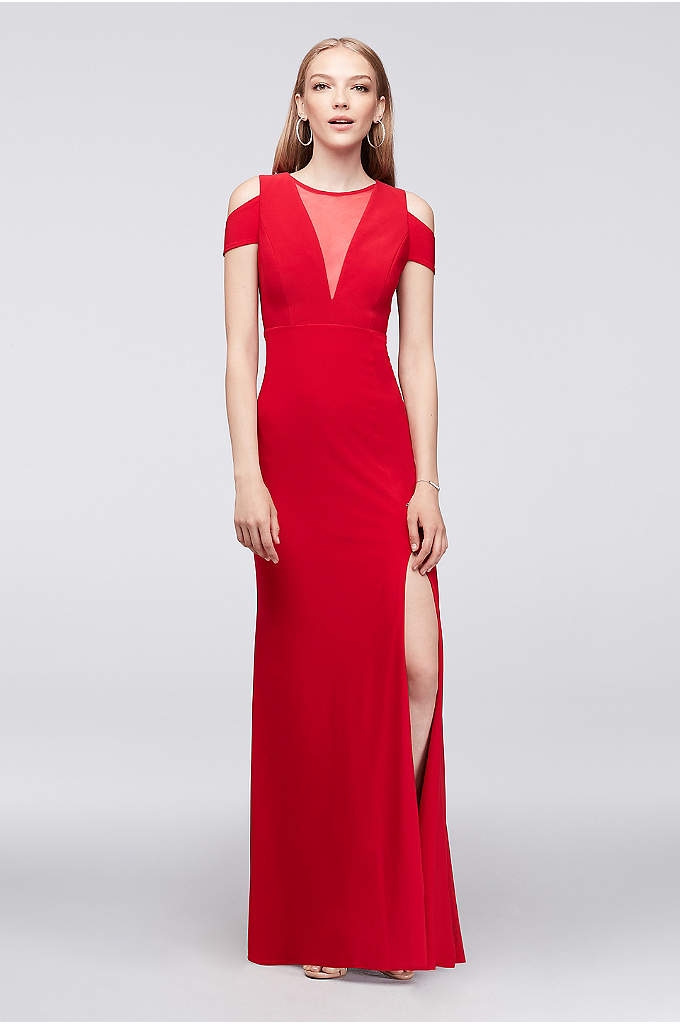 Cold-Shoulder Illusion V-Neck Jersey Gown - Walk the red carpet at your next event