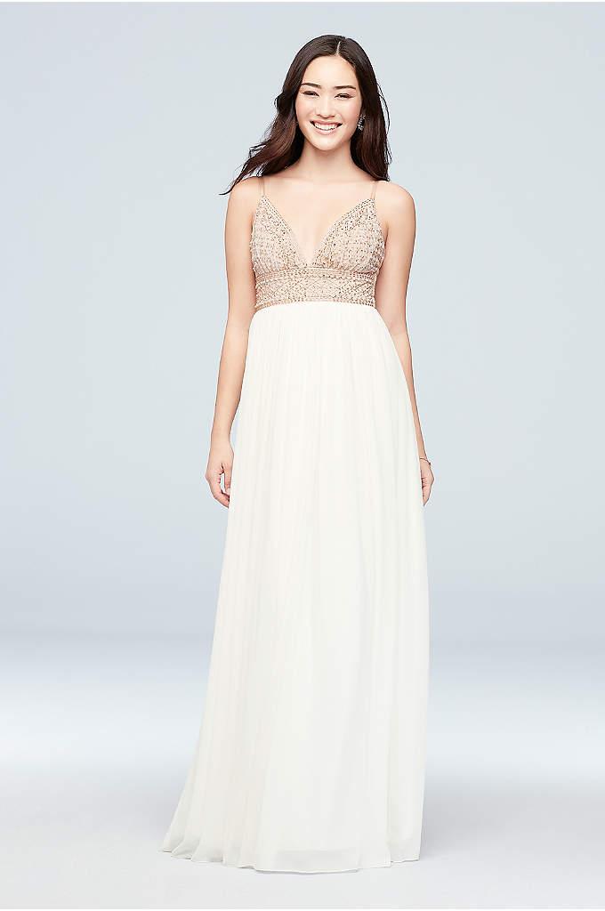 Chiffon A-Line Dress with Beaded V-Neck Bodice - A beaded bodice with a plunging V-neckline makes