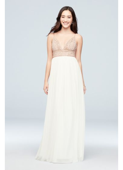 Chiffon A-Line Dress with Beaded V-Neck Bodice - A beaded bodice with a plunging V-neckline makes