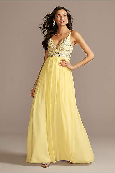 Plunging Chiffon Gown with Embellished Bodice