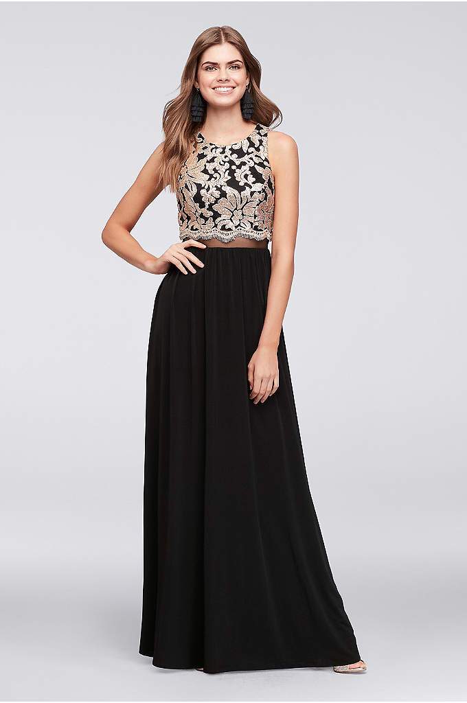 Illusion Waist Jersey Gown with Sequined Bodice - An opulent sequined and embroidered lace bodice and