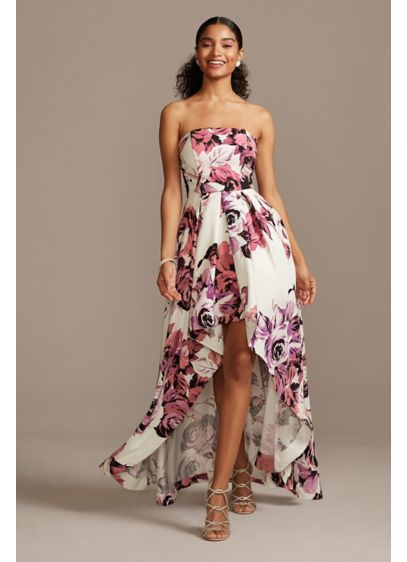 Strapless Floral High-Low Ball Gown - Roses bloom from the strapless neckline to the