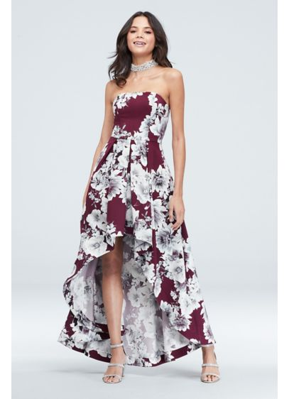 Floral Print Strapless High Low Gown with Pockets - You'll be beaming and blooming in this fun